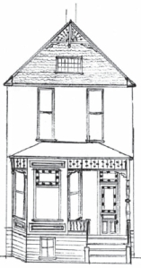 1891 Abramson House by John F. Wilson at 61 NE Sacramento (sketch by Robert Brown)