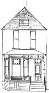 1891 Abramson House by John F. Wilson at 61 NE Sacramento (sketch by Robert Brown)