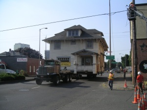 The Kinsman House moving along NE MLK