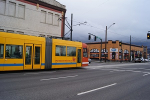 The Loop Streetcar testing on NE Broadway.  Photo courtesy Portland Streetcar Inc.