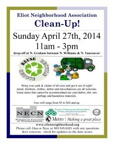 Eliot Cleanup Flyer 2014