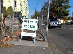 MLK Sidewalk Closed