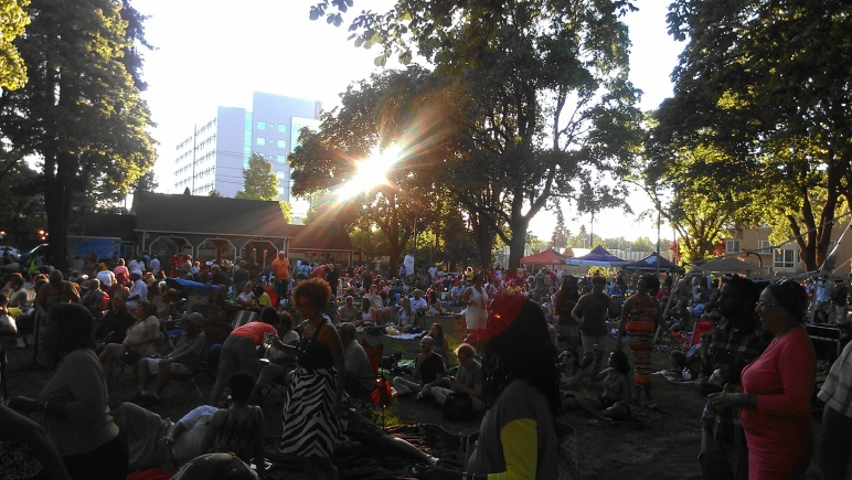 Crowd at Dawson Park Reopening Ceremony and Concert