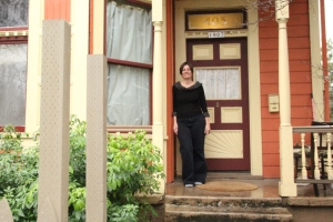 Angela Kremer at her Victorian house