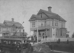 Streetcar along Williams in 1889.  Homes have been replaced with warehouses.  Courtesy Mrs. Dorothy Thompson Smith