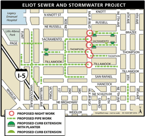 Map of the Eliot Sewer and Stormwater Project