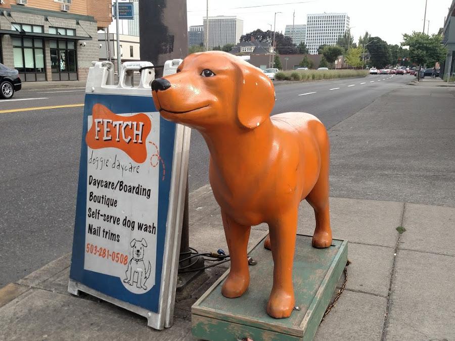 Fetch doggie day care eliot neighborhood orange dog statue outside of fetch solutioingenieria Images