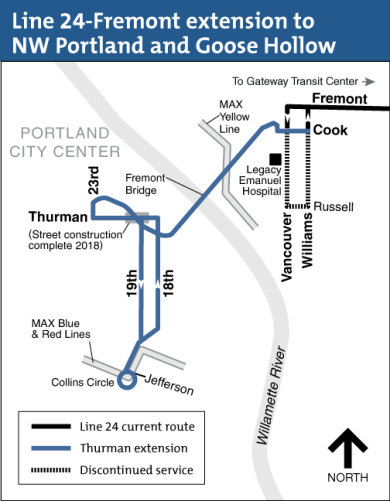 Map of bus line 24 extension to NW Portland