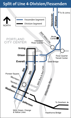 Map of bus line 4 split