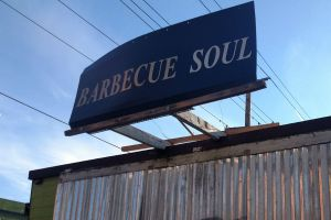 Sign for Barbecue Soul Food Cart