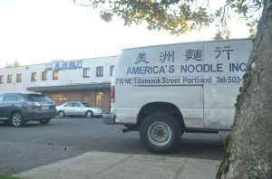 Americas Noodle Truck in parking lot