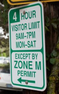 Parking permit sign in NW Portland for zone M