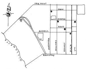 Map of churches in Eliot Neighborhood